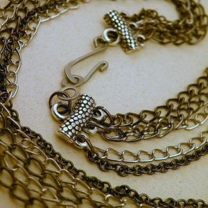 Jewelry - Gunmetal Black and Silvertone Mixed Metals 5 Chain